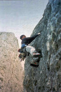 Rock Climbing Photo: Jim Ghiselli leading the third pitch of the Messne...