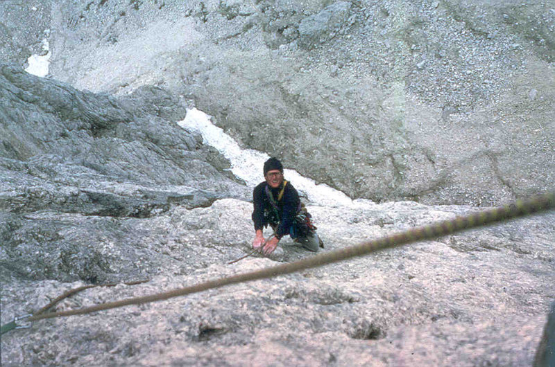 Jim Ghiselli following the fourth pitch of the Messner, photo James Crump, 1984