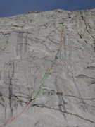 Rock Climbing Photo: Pitches are color coded as to how we climbed this ...