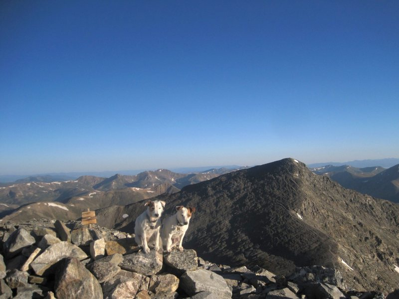 Dawn on the summit of Grays with Torrey's Peak in the background. 9/3/11