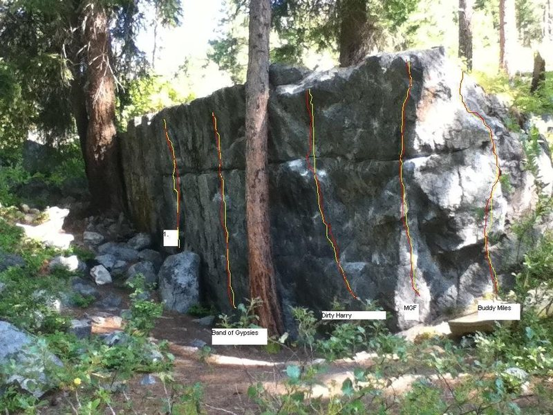 Machine Gun<br> <br> Five lines on the boulder.  I don't know what people are calling the left most line if anything.