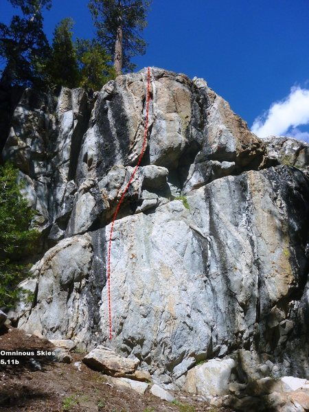 Rock Climbing Photo: Ominous Skies Topo, 5.11b