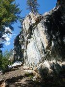 Rock Climbing Photo: The steep face of Ominous Skies 5.11b