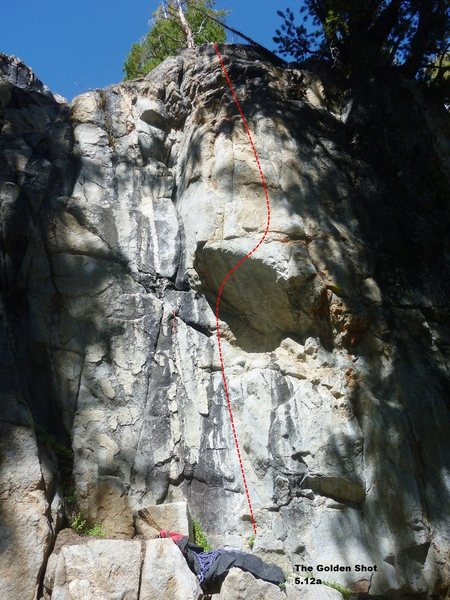 Rock Climbing Photo: The Golden Shot 5.12a Topo