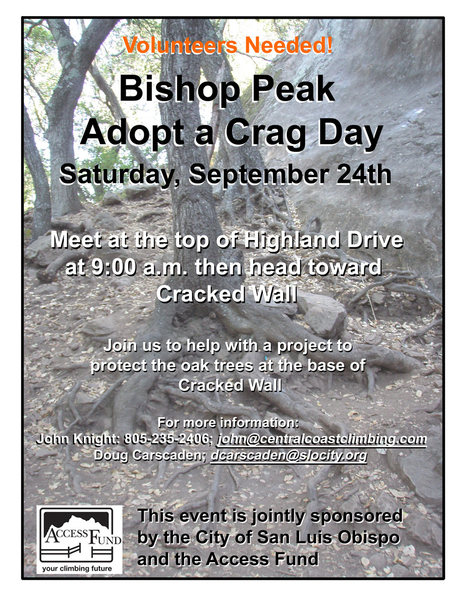 Adopt a Crag - Scheduled for Sat., Sept. 24th at 9am. Meet at the top of Highland.