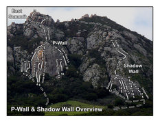 Rock Climbing Photo: Overview of selected routes in the area around P-W...