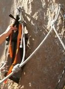 Rock Climbing Photo: Rope anchor through hangers.