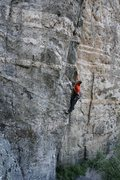 Rock Climbing Photo: Jug hauling up the first pitch of 'Arretez-vou...