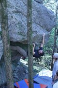 Rock Climbing Photo: Scott pulling in hard on the undercling to gain th...