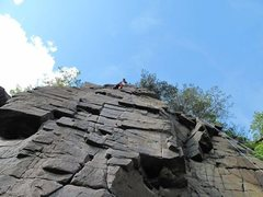 Rock Climbing Photo: I chose to traverse left, avoiding the wider crack...