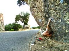 Rock Climbing Photo: Big crossover move near the start. Super fun.