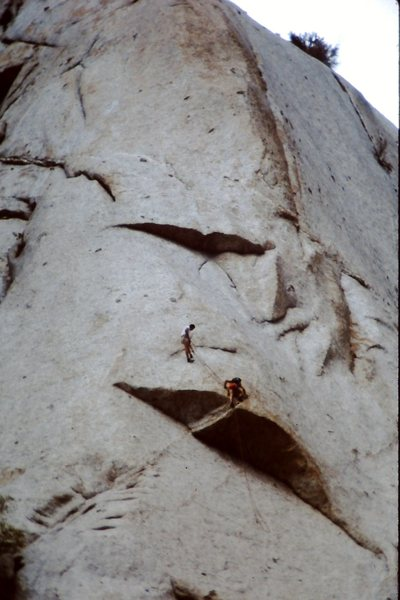 Bryce Thatcher follows the roof on pitch one of Dark Horse - probably 3rd ascent.  1980/81