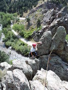 Rock Climbing Photo: Topping out Frogman Pinnacle.  If you start from t...
