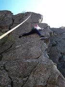 Rock Climbing Photo: Deb just past the 1st crux.