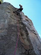 Rock Climbing Photo: Roy topping out on Bungle in the Jungle