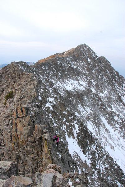 J. Percassi on the knife ridge looking back toward Spiller Peak at 13,123'. November 2009.