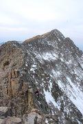 Rock Climbing Photo: J. Percassi on the knife ridge looking back toward...