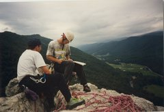 Rock Climbing Photo: Seneca Rocks signing the summit register with Bill...