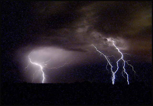Lightning near Indian Cove.<br> Photo by Blitzo.