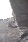Rock Climbing Photo: Up the dihedral on pitch 1