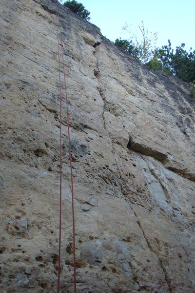 And the red rope is finally hanging on this sustained, long climb located third from the left of The Bradyism Wall. It's awesome! Go get it!