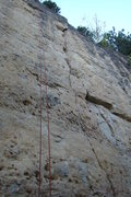Rock Climbing Photo: And the red rope is finally hanging on this sustai...