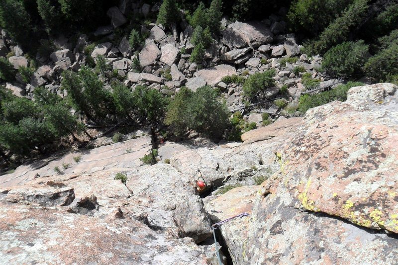 Rock Climbing Photo: Looking down from the summit with Brenda on the co...
