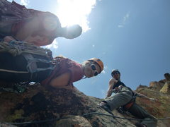 Rock Climbing Photo: M. Carnes, C. Winn, and Kyle at the top of Breeder...