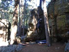 Rock Climbing Photo: Grabbing the thin pocket.(Bad pic)