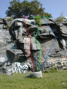 Rock Climbing Photo: All routes are drawn approximately as described in...