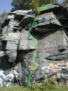 Rock Climbing Photo: M Weave is shown in green. Route is approximate, t...