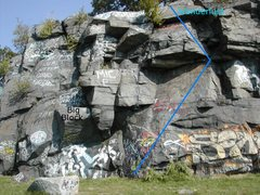 Rock Climbing Photo: Wanderlust. Route is approximate, taken from descr...