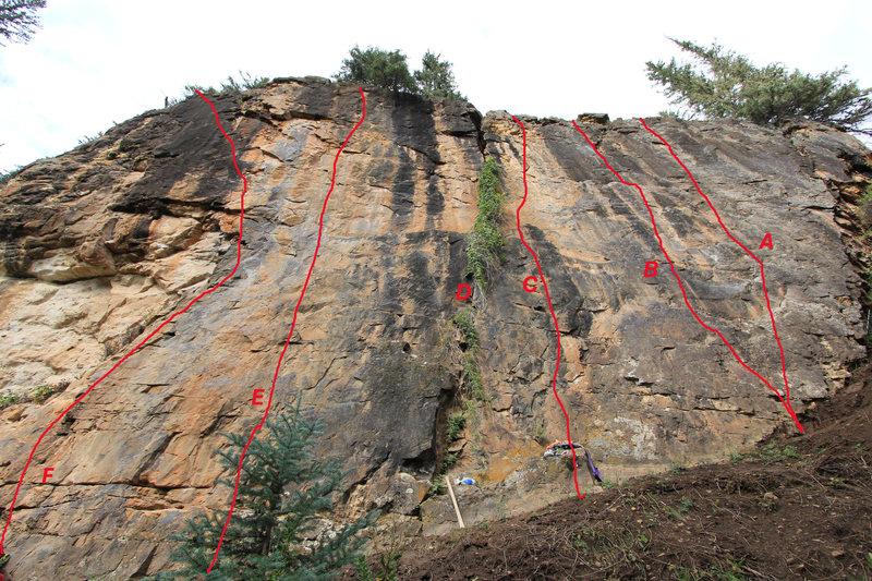 Rock Climbing Photo: THE HOPS WALL: A. Tasters Choice, 5.9. B. Nescafe,...