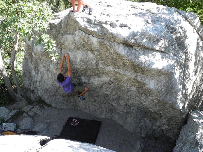 Rock Climbing Photo: Charlie matching up.