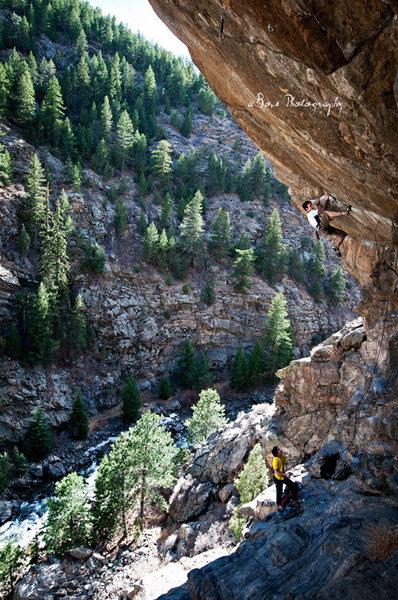 Rock Climbing Photo: Dan Scales ridin' the send train.  Photo: Adam Bov...