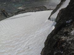 Rock Climbing Photo: Telephoto view  from (summit ridge) of climber sty...