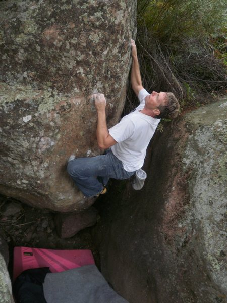 Rock Climbing Photo: Trying not to get a hernia.