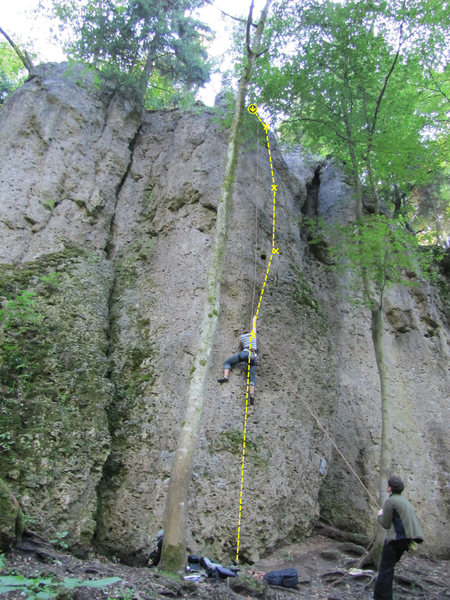 Eva entering the first crux of Armin Weich Gedenkweg.