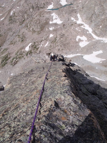 Carl high on the North Arete