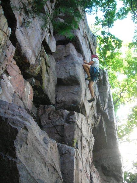 Rock Climbing Photo: Burt midway up Moon Beam..  Got my hands on the se...