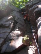 "Rock Climbing Photo: Mike Sohasky having a good time leading ""The ..."