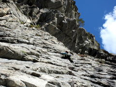 Rock Climbing Photo: Crux of the 3rd pitch of Beast.