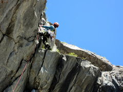 Rock Climbing Photo: Topping the first (of two) burly overhangs on the ...