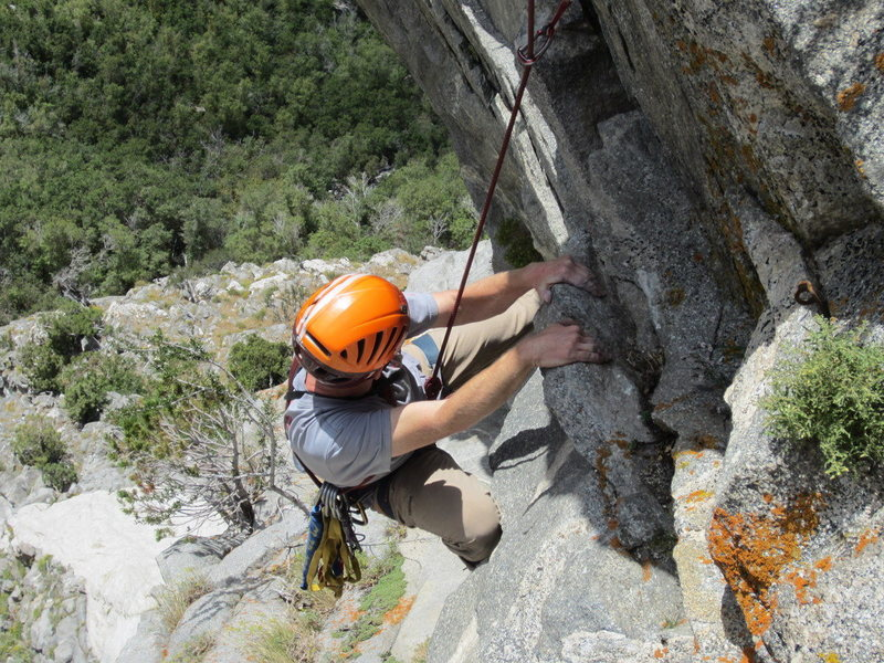 Rock Climbing Photo: Top of the second overhang (whew) on the 4th pitch...