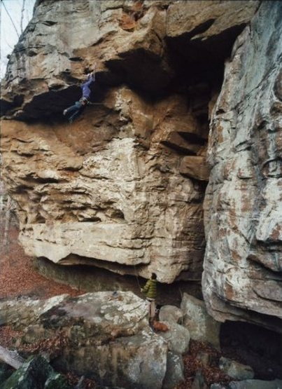 Rock Climbing Photo: Jesse Koerner snags the lip on Shout.  Photo: Rick...