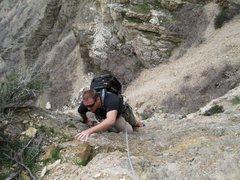 Climbing in Rock canyon Utah