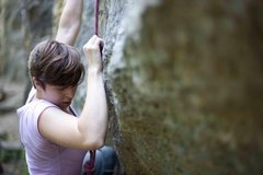 Rock Climbing Photo: Starting, Anadonia 5.11, Red Wing MN (Barn Bluff)