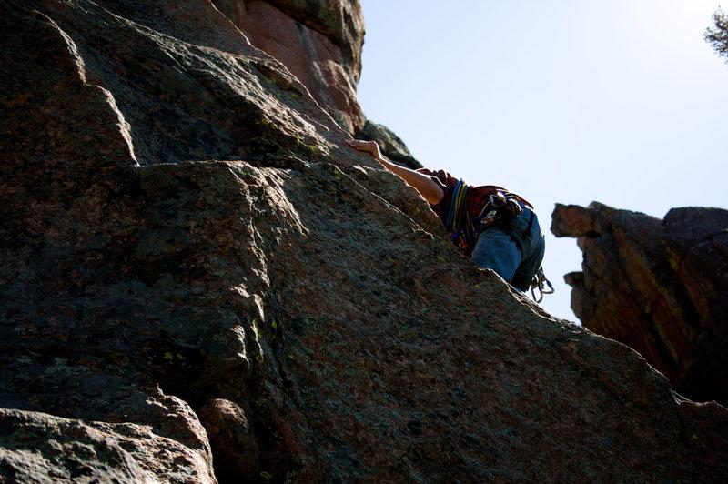 Rock Climbing Photo: Sean using the arête on Fenceline.