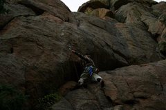 Rock Climbing Photo: Climber is on Frequency Modulated. One Tree Crack ...