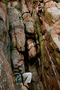 Rock Climbing Photo: Heading up to attempt the hang dog finish. not pos...